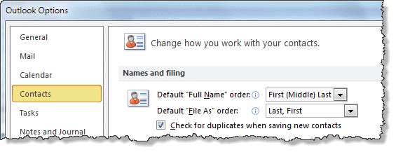 Change the default format in Contact Options