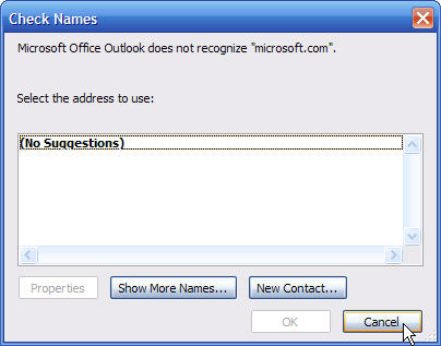 Cancel the choose address dialog