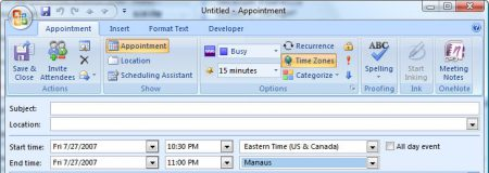 Outlook 2007 and up have a time zone selector button on appointments