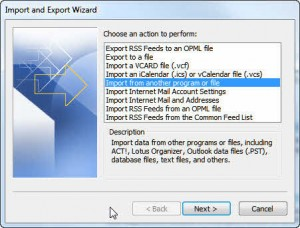 Import and Export Wizard dialog