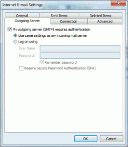 authenticate with smtp server