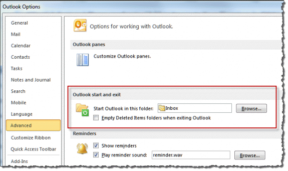 Set startup folder in Outlook 2010