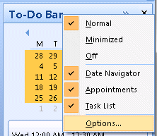 Outlook's To-do bar options