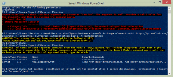 Use PowerShell to get a list in users and the last logon time