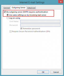 Enable authentication for the outgoing server