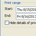 No drop down calendars in Outlook 2010 Print Options
