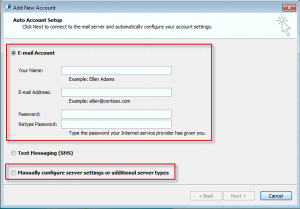 auto account setup or manually configure profile