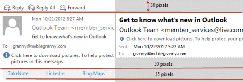 Compare Outlook 2010 and 2013 reading pane headers