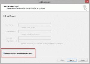 Select the option to configure your account manually