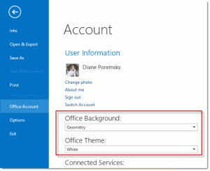 Change the color and background in File, Office Account