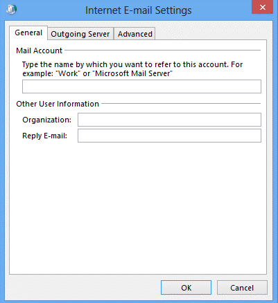 General tab Outlook 2013