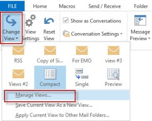 Change View dialog in Outlook 2010 and 2013