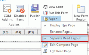 Check the settings for separate read page